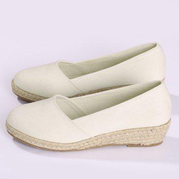Round Toe Slip On Espadrille Wedges - WHITE 37