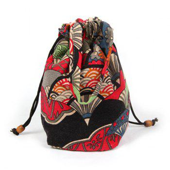 Ethnic Print Drawstring Crossbody Bag - RED RED