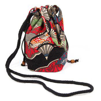 Ethnic Print Drawstring Crossbody Bag -  RED