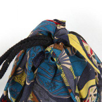 Ethnic Print Drawstring Crossbody Bag -  BLUE