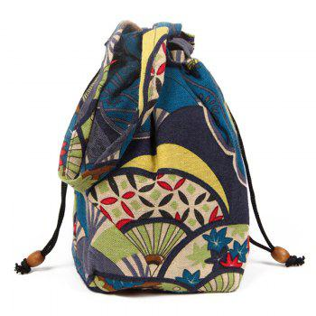 Ethnic Print Drawstring Crossbody Bag - BLUE BLUE