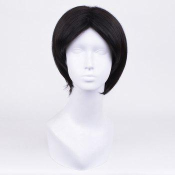 Short Middle Parting Straight Synthetic Wig - BLACK BLACK