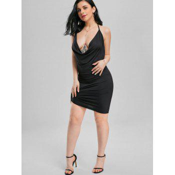 Halter Backless Mini Club Dress - BLACK M