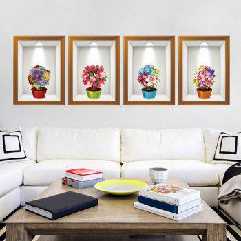 4Pcs/Set Photo Frame Flower Art Wall Sticker