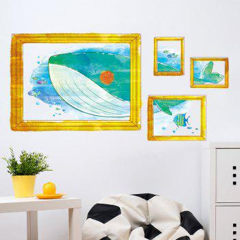 Cartoon Whale Kids Room Photo Frame Wall Sticker - COLORMIX 50*70CM