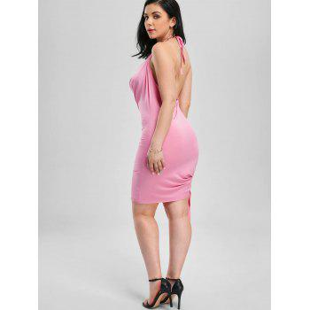 Halter Backless Mini Club Dress - PINK PINK