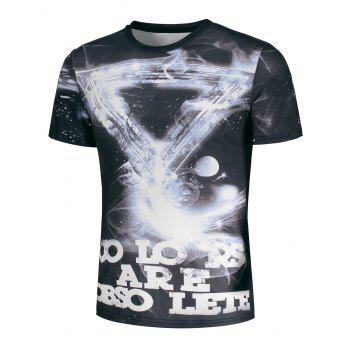 Galaxy Geometric and Graphic Print T-Shirt