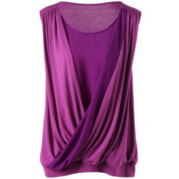Surplice Sleeveless Plus Size Top