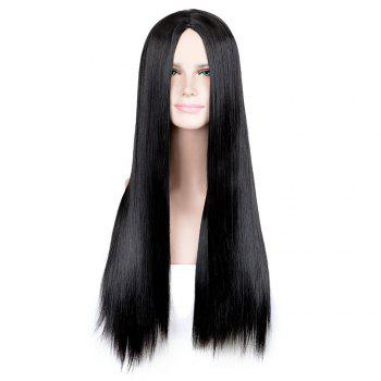 Long Center Part Straight Cosplay Synthetic Wig - BLACK