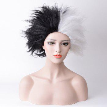 Short Fluffy Two Tone Straight Cruella Deville Cosplay Synthetic Wig