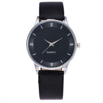 Minimalist Faux Leather Couple Watches - BLACK
