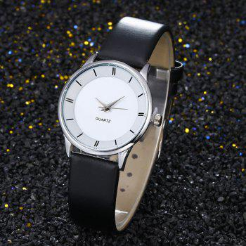 Minimalist Faux Leather Couple Watches -  SILVER