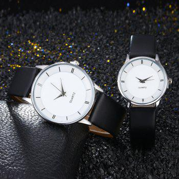Minimalist Faux Leather Couple Watches - SILVER SILVER