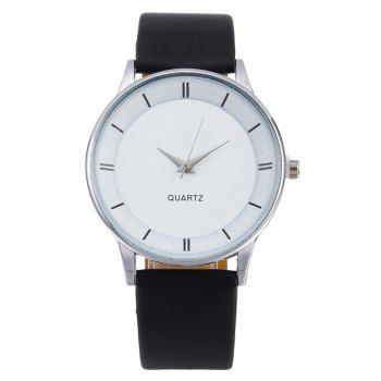 Minimalist Faux Leather Couple Watches - Argent