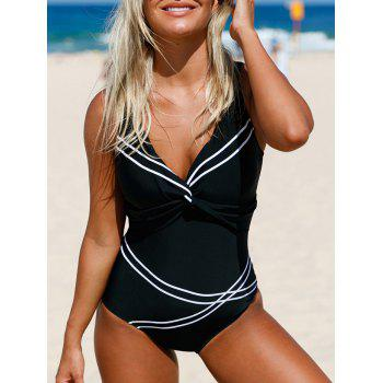 Twist Front Lace-Up Sailor Swimsuit
