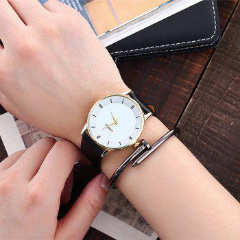 Minimalist Faux Leather Couple Watches - WHITE / GOLD