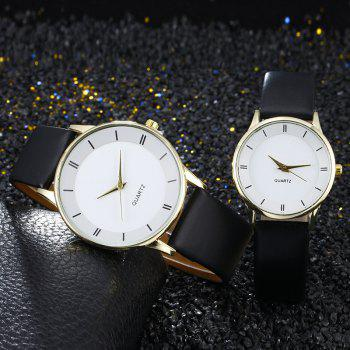 Minimalist Faux Leather Couple Watches - WHITE + GOLD WHITE / GOLD