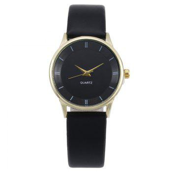 Minimalist Faux Leather Couple Watches - BLACK GOLD