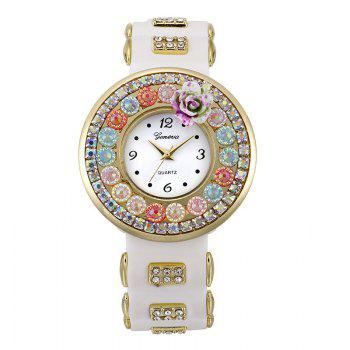 Flower Rhinestone Number Analog Watch