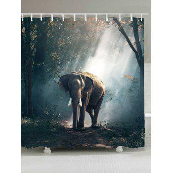 Waterproof Elephant in Forest Shower Curtain