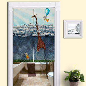 Cartoon Giraffe Print Bathroom Door Curtain - BLUE BLUE