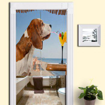 Dog Drink Juice Printed Door Hanging Curtain - BLUE W33.5 INCH * L35.5 INCH