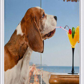 Dog Drink Juice Printed Door Hanging Curtain - BLUE BLUE