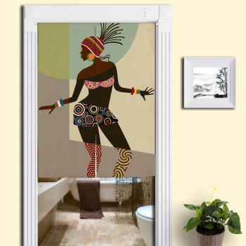 Indian Beauty Printed Bathroom Door Curtain - COLORMIX W33.5 INCH * L47 INCH