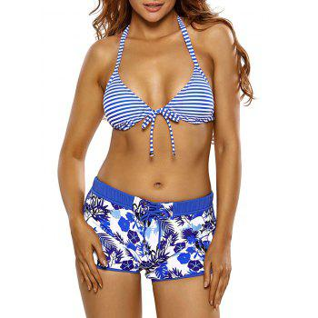 Striped Floral Halter Boyshorts Bikini Set