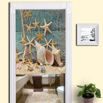 Beach Starfish Printed Bathroom Decor Door Curtain - BLUE W33.5 INCH * L47 INCH