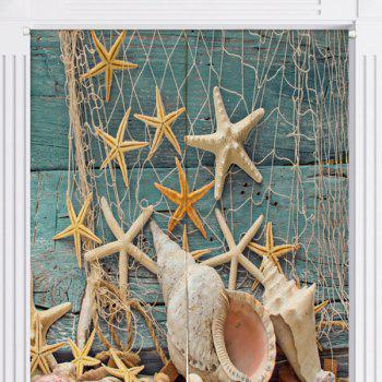 Beach Starfish Printed Bathroom Decor Door Curtain - W33.5 INCH * L47 INCH W33.5 INCH * L47 INCH