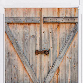 Rustic Country Wooden Door Pattern Door Curtain - W33.5 INCH * L35.5 INCH W33.5 INCH * L35.5 INCH