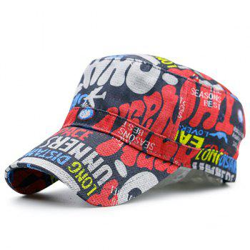 Flat Top Graffiti Letters Printed Military Cap
