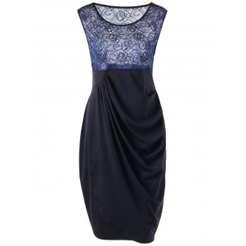 Plus Size Ruched Lace Insert Bodycon Drape Dress