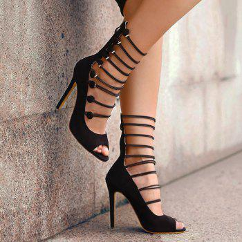 Buttons Stiletto Heel Peep Toe Shoes - BLACK BLACK