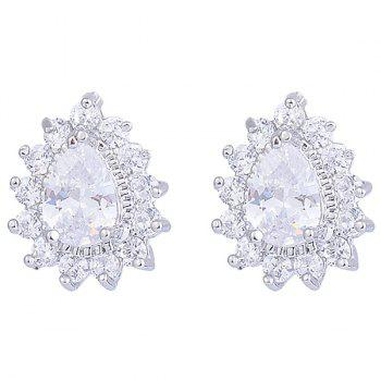Water Drop Faux Diamond Inlaid Stud Earrings - SILVER