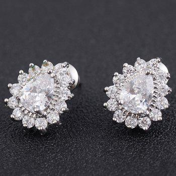 Water Drop Faux Diamond Inlaid Stud Earrings