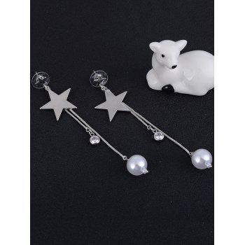 Faux Pearl Pentagram Pendant Drop Earrings - SILVER WHITE