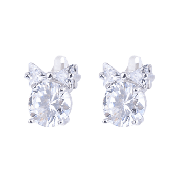 Faux Diamond Inlaid Tiny Bowknot Stud Earrings - SILVER