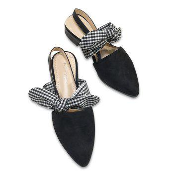 Bowknot Point Toe Slingback Flats