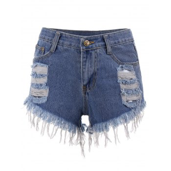 Ripped Mini Cut Off Denim Shorts - BLUE BLUE