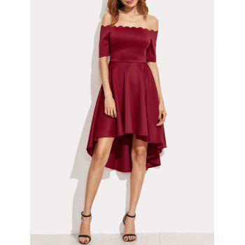 Scalloped Off The Shoulder High Low Dress