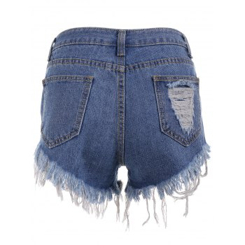 Ripped Mini Cut Off Denim Shorts - BLUE 2XL
