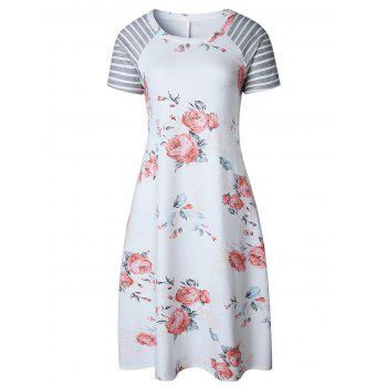 Floral Striped Raglan Sleeve Tee Dress