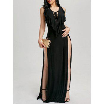High Slit Lace Up Maxi Dress