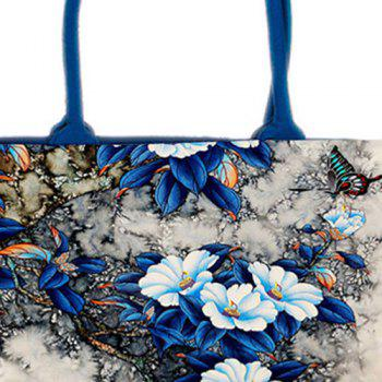 Canvas Flower Print Handbag - BLUE