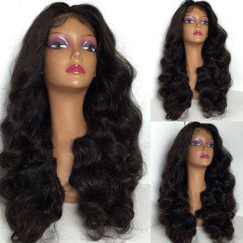 Long Middle Part Fluffy Body Wave Lace Front Synthetic Wig