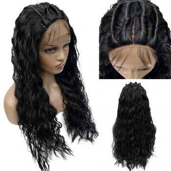 Free Part Long Shaggy Water Wave Lace Front Synthetic Wig - BLACK