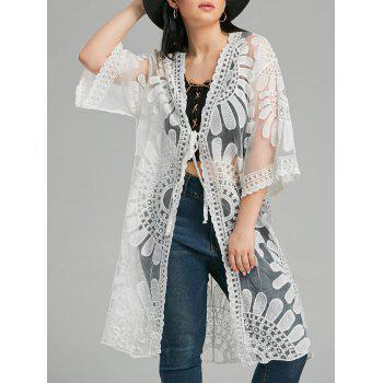 Mesh Trim Embroidered Long Kimono