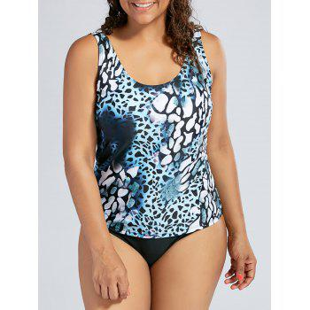 Plus Size Leopard Padded Slimming Tankini Swimsuit